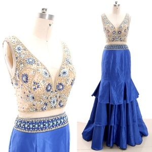 V neck Crystal Royal Blue Pageant Gown Prom Dress